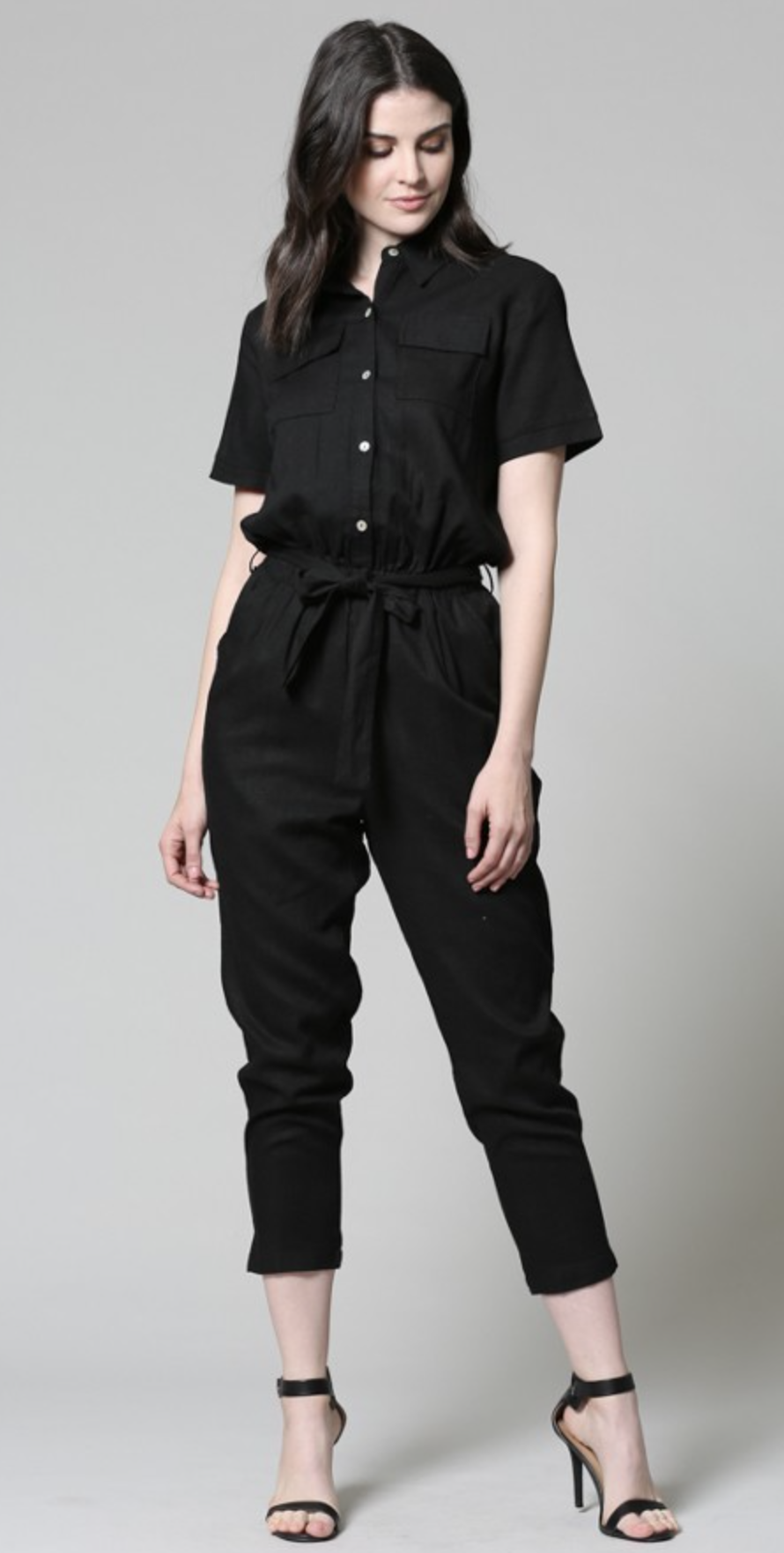 black linen jumpsuit