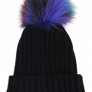 pom pom purple and black hat
