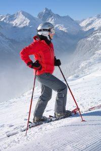 alpine ski pants on woman