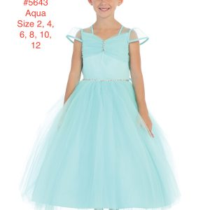 Girl's Princess Sleeve Sequins Bodice with Full Tulle Skirt