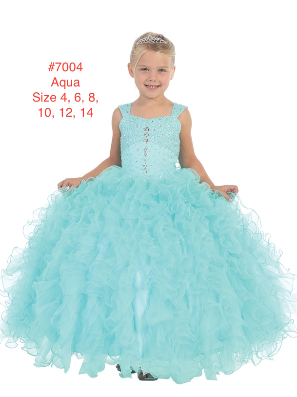 Girl's Aqua Full On Glitz Sequins and Rhinestone Bodice with Ruffled Skirt