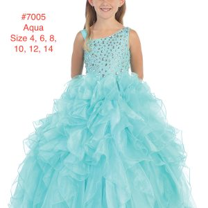 Girl's One Shoulder Sequins Bodice Ruffled Skirted Full On Glitz Pageant Dress