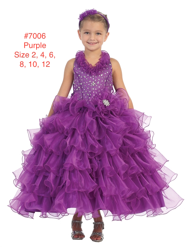 Girl's Sequins Ruffle Full Glitz Pageant Dress