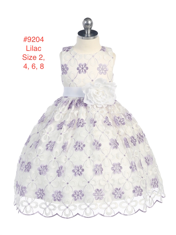Girl's Flower Embroidered Dress with Scalloped Hem