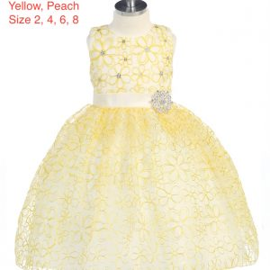 Girl's Embroidered Flower Petal Rhinestone Dress