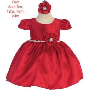 Infant's Sleeved Polyester Shantung Bejeweled Waist Dress