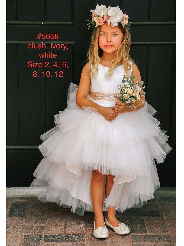 2ecc76932327 Silver Embroidered Lace Bodice Tulle Skirt Flower Girl Dress ...
