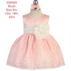 Infant Sleeveless Satin Flower Bodice Glitter Tulle Skirt