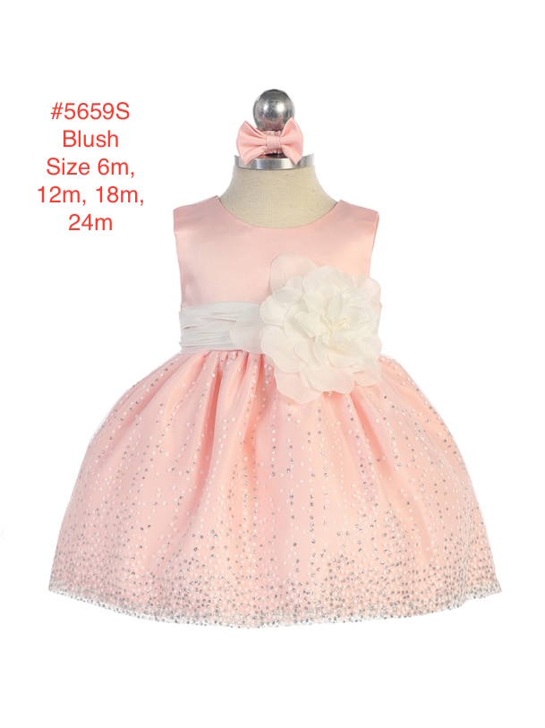 Infant Sleeveless Satin Flower Bodice Glitter Tulle Skirt