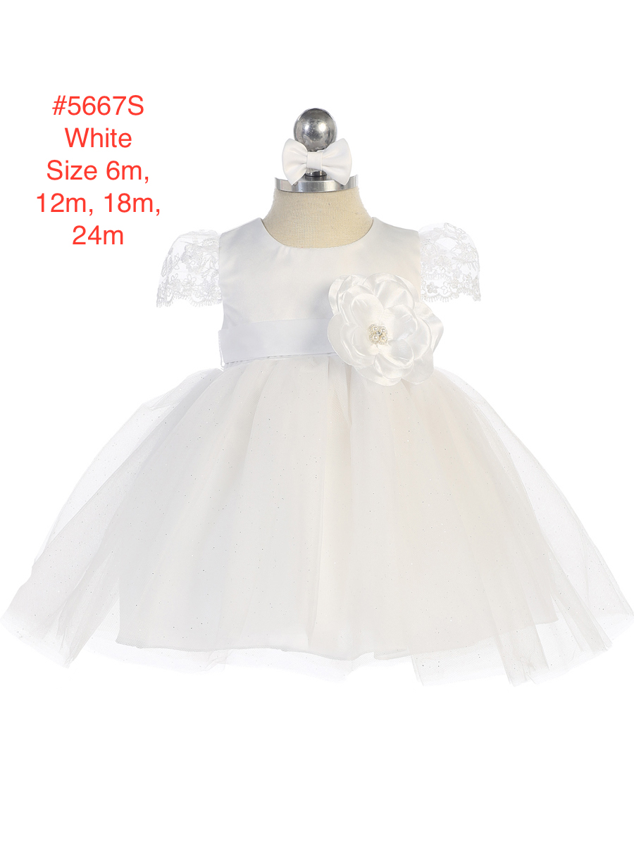 Infant's 2-Tone Lace Cap Sleeve Satin Bodice Glitter Tulle Skirt Dress