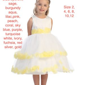 Girl's White Flower Petal Trimmed Full Skirted Party Dress