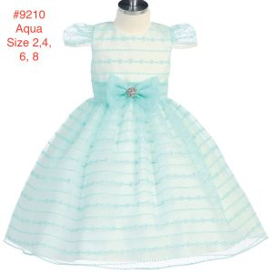 Girl's Striped Round Neck Cap Sleeve Party Dress