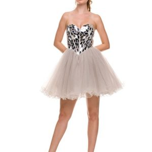 Sweetheart Silver Gold Sequins Bodice Mesh Flirty Frock