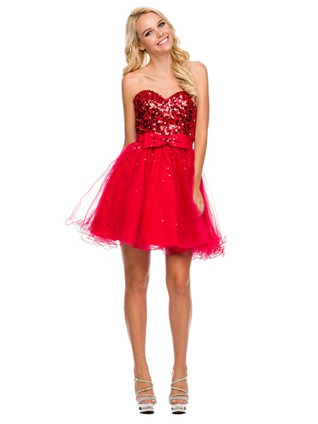Sweetheart Scarlett Sequins Bow Tulle Ruffle Hem Party Dress