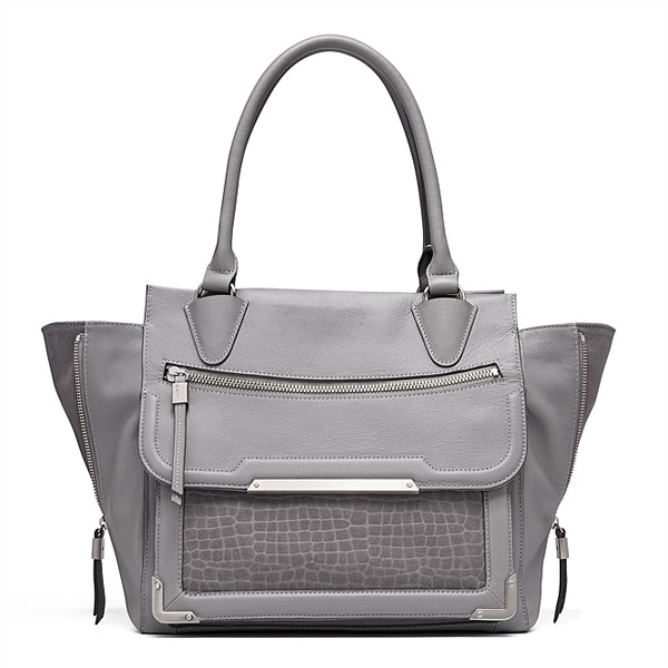 Italian Leather Gray Handbag
