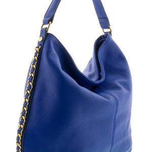 VOLETA Blue Leather Hobo Shoulder Bag