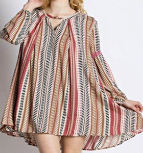Button Front Smock Tunic Dress