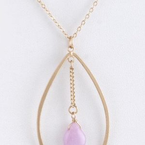 Teardrop Hoop With Semi Precious Stone Accent Necklace