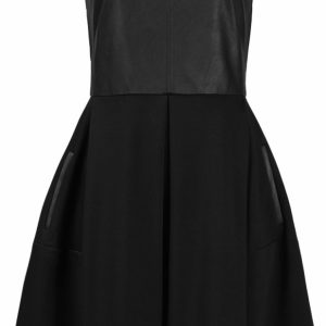 Taylor Crew Neckline Vegan Leather Bodice Box Pleat Scuba Dress