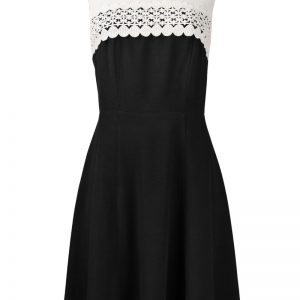 Madison Leigh Crew Neck Sleeveless Zipper Back Embellished Front Flutter Hem Crepe Dress