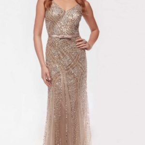 Illusion Beaded Full Length Mesh Gown