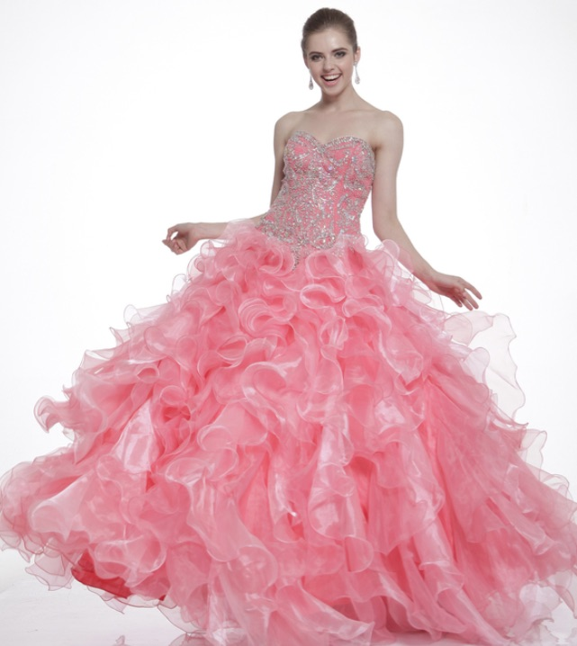 Strapless Sweetheart Ruffled Ball Gown