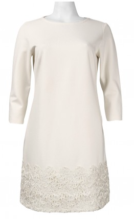 Taylor Quarter Sleeve Crochet Hem Dress