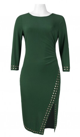 Spense 3/4 Sleeve Boat Neck Studded Dress