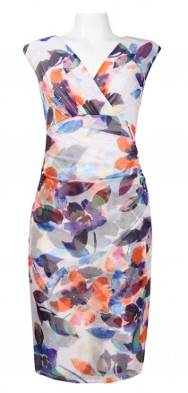 London Times Surplice Neckline Multi Leaf Dress