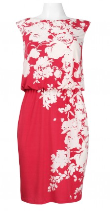 London Times Asymmetrical Floral Print Dress