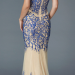 Blue Black Embroidered Sequins Sheer Mermaid Gown