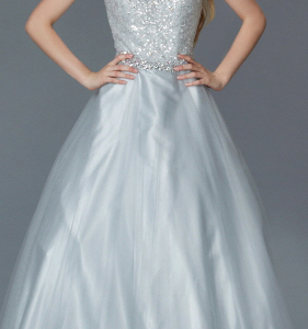 Silver Crystal Bodice Full Skirted Ball Gown
