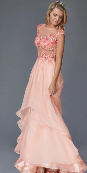 Flower Petal Peek-a-boo Mesh Waist Full Skirted Ball Gown