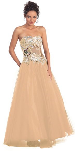 Cinderella at the Ball Boned Crystal Bodice and Waist Ball Gown