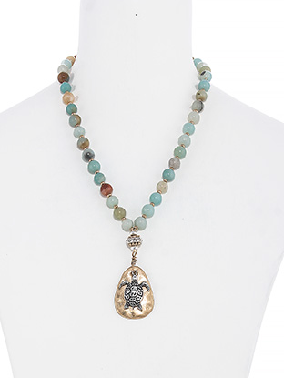Patina Turtle Charm Mixed Beaded Necklace