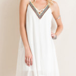 Embroidered V-Neck Ethnic Woven Handkerchief Dress