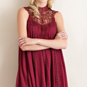 Burgundy Woven Lace Summer Frock