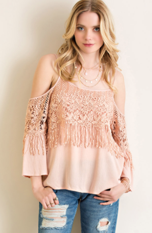 Crochet Fringe Cold Shoulder Top