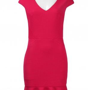 Julia Jordan V-Neck Cap Sleeve Zipper Back Flounce Hem Solid Eyelet Dress