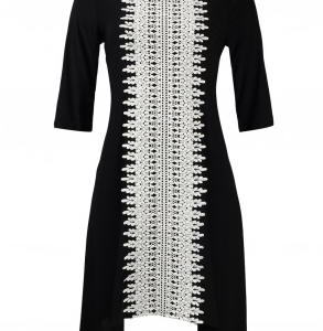 Trendmakers Boat Neck 3/4 Sleeve Embellished High Low Jersey Dress