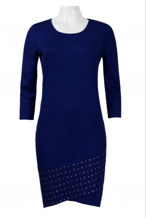 Spense Scoop Neck 3/4 Sleeve Solid Eyelet Ponte Dress