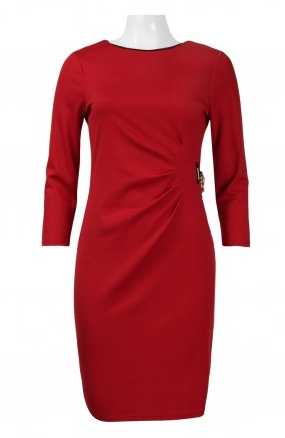 Spense Boat Neck 3/4 Sleeve Gathered Brooch Side Solid Ponte Dress