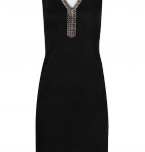 Spense Embellished V-Neck Sleeveless Solid Suede Dress
