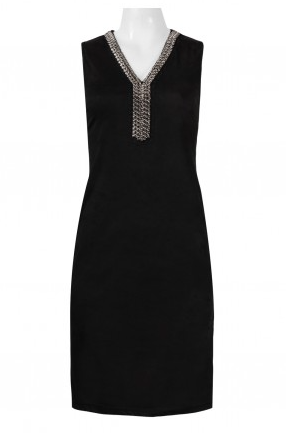 Spense Embellished V-Neck Sleeveless Solid Suede Dress