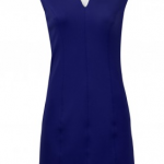 Spense V-Neck Cap Sleeve Zipper Back Solid Scuba Dress