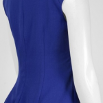 Adrianna Papell Split Neck Cap Sleeve Gathered Side Solid Crepe Dress