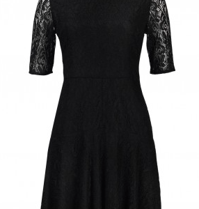 London Times Crew Neck 3/4 Sleeve Zipper Back Solid Floral Lace Dress