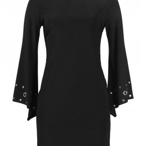 Trendmakers Boat Neck Long Sleeve Bodycon Stud and Metal Groments Detail Jersey Dress