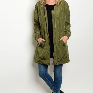 Olive Green Knee Length Bomber Jacket