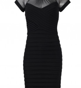 London Times Crew Neck Cap Sleeve Illusion Zipper Back Pleated Jersey Dress